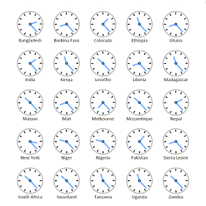 A grid of clocks